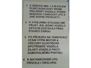 Tabulka - pokyny na LPG na čerpací stanice